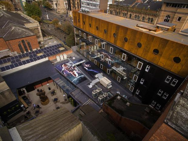Belfast Bullitt rooftop mural, The Intrepid Traveller by commercial street artist Visual Waste, is largest in Ireland. Photo: Visual Waste