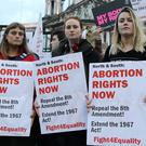 The pro-abortion rally held outside Belfast City Hall on Tuesday evening