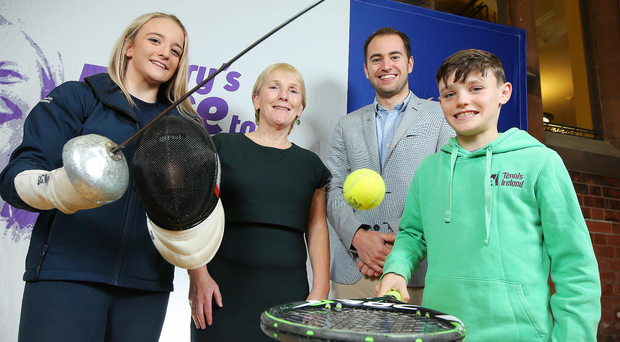 Helping hands: pictured at the Rory McIlroy injury support announcement are (from left) fencer Charlotte Slater, Eilish Rutherford, Chair of the Mary Peters Trust, Rory Foundation Trustee Dr Andrew Crone and tennis hopeful Dylan Leeman