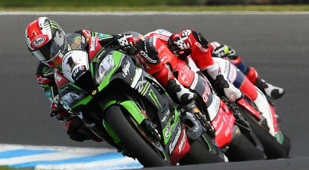 Way out in front: Jonathan Rea needs only two points to retain the World Superbike crown under the lights in Qatar