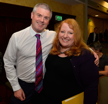 Naomi Long with her husband Michael after she was elected leader of the Alliance Party last night