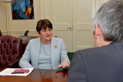 First Minister Arlene Foster speaking to the media at Stormont Castle in Belfast. PA