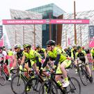 Huge success: The 2016 Gran Fondo Giro d'Italia NI gets under way at the Titanic building