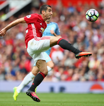 Struggle: Henrikh Mkhitaryan takes on Manchester City on September 10, the last time the injury-hit star played for United