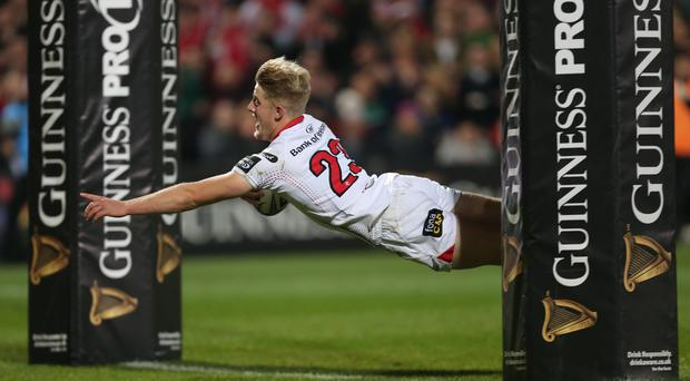 Ulster v Munster at Kingspan Stadium, Belfast. Ulster's Robb Lyttle scores between the posts. 28 October 2016 - Picture by Darren Kidd / Press Eye.