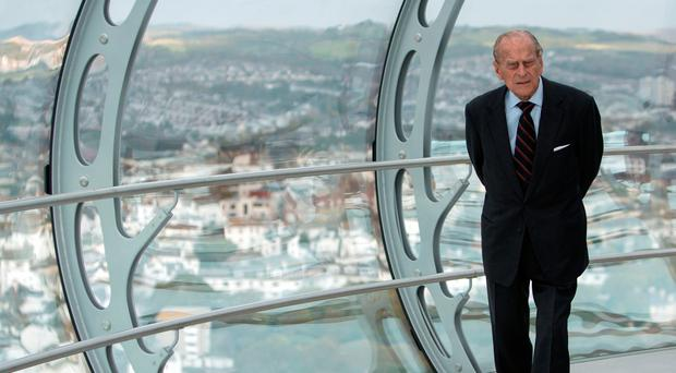 The Duke of Edinburgh on the world's first vertical cable car