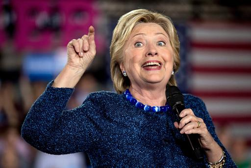 Democratic presidential candidate Hillary Clinton speaks at a rally at Theodore Roosevelt High School in Des Moines, Iowa, Friday, Oct. 28, 2016. (AP Photo/Andrew Harnik)