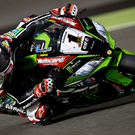 At the double: Jonathan Rea came home second in race one in Qatar, which was enough to wrap up back-to-back World titles, before ending his season with third in race two