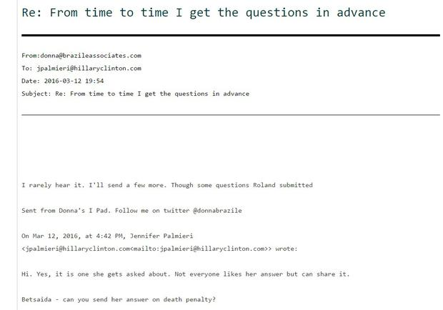 Donna Brazile email: 'I get the questions in advance'