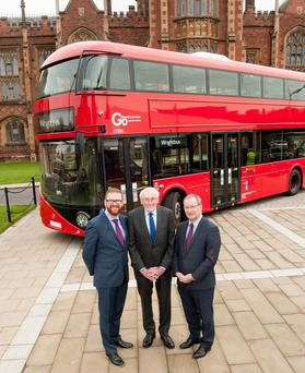 Pictured l-r: Economy Minister Simon Hamilton, Dr William Wright CBE and Queen's University Vice-Chancellor Professor Patrick Johnston