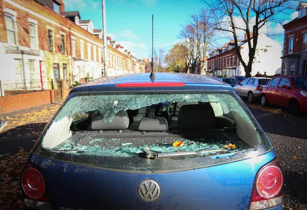 Cars attacked in Rugby Avenue in The Holyland area in south Belfast. (Photo by Kevin Scott / Belfast Telegraph)
