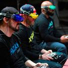 Undated handout photo issued by the Drone Racing League (DRL) of people taking part in a drone race, as the first professional drone race in the UK will be staged at Alexandra Palace during London Tech Week next year. PA