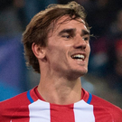 Atletico Madrid's Antoine Griezmann celebrates after scoring against FC Rostov