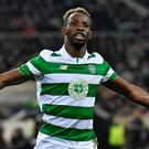 Celtic's Moussa Dembele celebrates after scoring a penalty during the Champions League match against Borussia Moenchengladbach