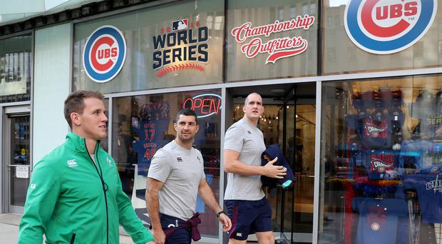 Walk this way: Ireland stars Craig Gilroy, Rob Kearney and Devin Toner take a stroll around Chicago ahead of their bid to defeat the All Blacks for the first time