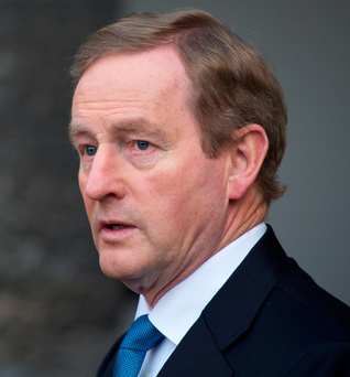 Enda Kenny addresses arrives to attend the All-Island Civic Dialogue on Brexit
