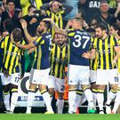 Moussa Sow of Fenerbahce celebrates scoring his sides first goal with team mates during the UEFA Europa League Group A match between Fenerbahce SK and Manchester United FC at Sukru Saracoglu Stadium on November 3, 2016 in Istanbul, Turkey. (Photo by Chris McGrath/Getty Images)