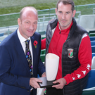 Top boss: Glentoran supremo Gary Haveron receives his Manager of the Month award from BBC presenter Stephen Watson at Windsor Park
