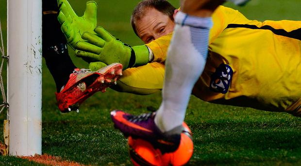 Dundalk's Irish goalkeeper Gary Rogers in action during the UEFA Europa League group D football match between FC Zenit and Dundalk FC in Saint Petersburg on November 3, 2016. AFP/Getty Images