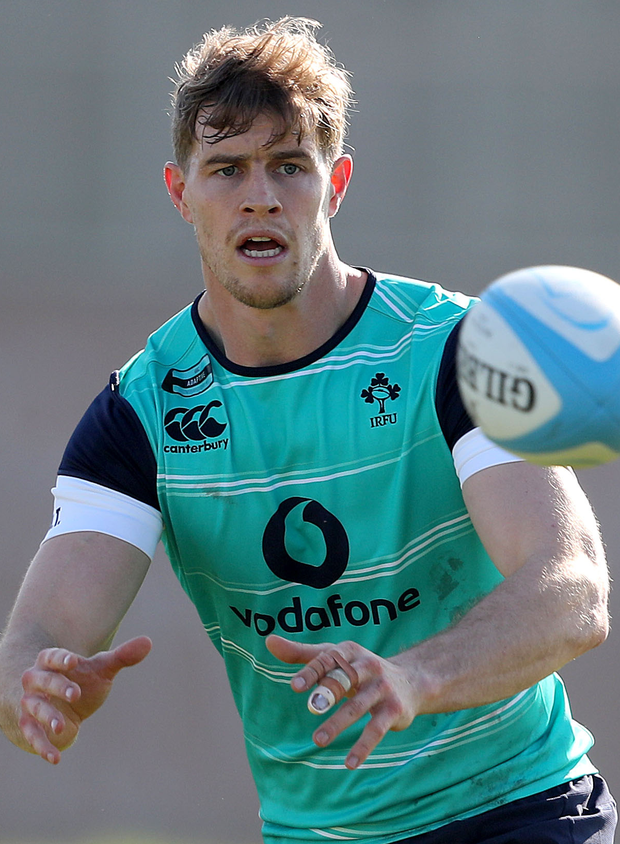 Calm before storm: Andrew Trimble during training yesterday at the University of Illinois ahead of the clash with New Zealand