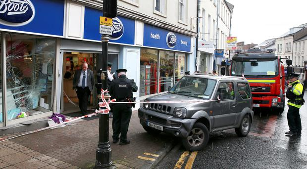 b3cf8f209c60f PSNI and emergency services at the scene on Townhall street in Enniskillen  where a vehicle collided