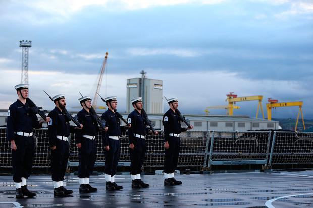 Crew members aboard HMS Duncan, as four Nato warships have docked in Belfast after monitoring a Russian aircraft carrier through the North Sea and on to the Mediterranean. PA