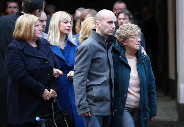 Mother Far right and step daughter (blue coat) Chrstine and Sister Marian (left) Family and friends attend the funeral of Martin (Bap) Kennedy on November 4th 2016 in Belfast , Northern Ireland (Photo by Kevin Scott / Belfast Telegraph)