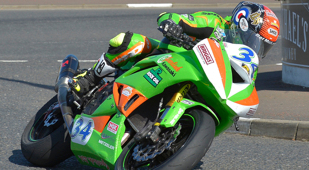 Out in front: Alastair Seeley going through the gears at the North West 200