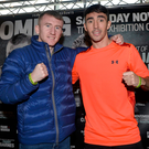 Raring to go: Jamie Conlan (right) and Paddy Barnes at yesterday's weigh-in for tonight's Titanic Exhibition Centre 'Homecoming' bill