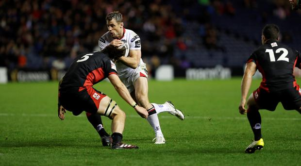 Ulster's Tommy Bowe and Ben Toolis Edinburgh versus Ulster Guinness pro 12 Murrayfield stadium Edinburgh Scotland, Britain November 4, 2016. Pic Russell Cheyne