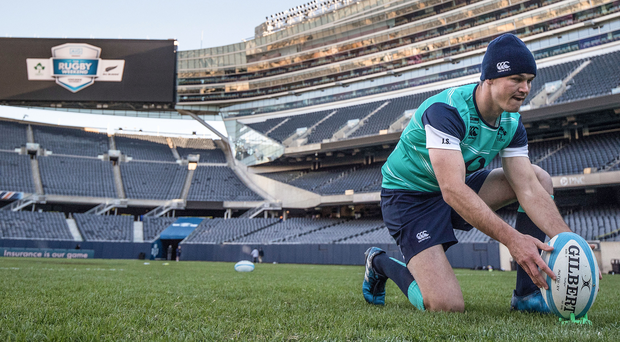 Taking aim: Jonathan Sexton at Soldier Field, Chicago yesterday