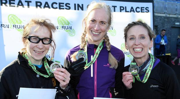Mandatory Credit - Picture by Freddie Parkinson/Press Eye © Saturday 5th November 2016 Run Forest Run Born2Run winter series Minnowburn race. Women's 10K winners Louise Smith (2nd), Judith Lonnen (1st) and Diane Watson (3rd)