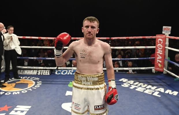 PACEMAKER BELFAST 05/11/2016 6 X 3 Minute Rounds International Flyweight Contest PADDY BARNES V STEFAN SLAVCHEV action from this evenings fight at Titanic Belfast.Photo Mark Marlow/Pacemaker Press