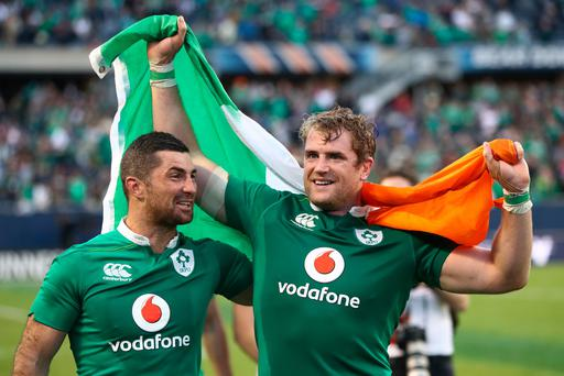 CHICAGO, IL - NOVEMBER 05: (L-R) Rob Kearney and Jamie Heaslip of Ireland celebrates following his team's 40-29 victory during the international match between Ireland and New Zealand at Soldier Field on November 5, 2016 in Chicago, United States. (Photo by Phil Walter/Getty Images)
