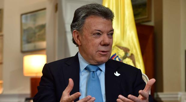 For use in UK, Ireland or Benelux countries only EDITORIAL USE ONLY Handout photo issued by the BBC of Colombia's President Juan Manuel Santos appearing in a pre-recorded interview on the BBC One current affairs programme, The Andrew Marr Show. PRESS ASSOCIATION Photo. Issue date: Sunday November 6, 2016. Trade between the UK and Colombia could be even stronger after Brexit, the country's president has said. See PA story POLITICS Brexit Santos. Photo credit should read: Jeff Overs/BBC/PA Wire NOTE TO EDITORS: This handout photo may only be used in for editorial reporting purposes for the contemporaneous illustration of events, things or the people in the image or facts mentioned in the caption. Reuse of the picture may require further permission from the copyright holder.