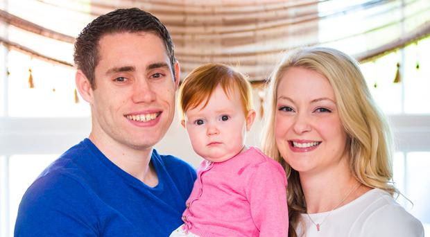 Jason Smyth with wife Elise and daughter Evie