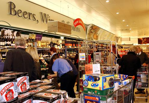 Shoppers in Newry look for bargains in a wine lodge