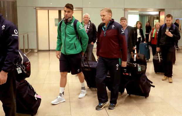 Ireland Rugby Team Return Home from Chicago, Dublin Airport 7/11/2016 Conor Murray and head coach Joe Schmidt Mandatory Credit ©INPHO/Donall Farmer