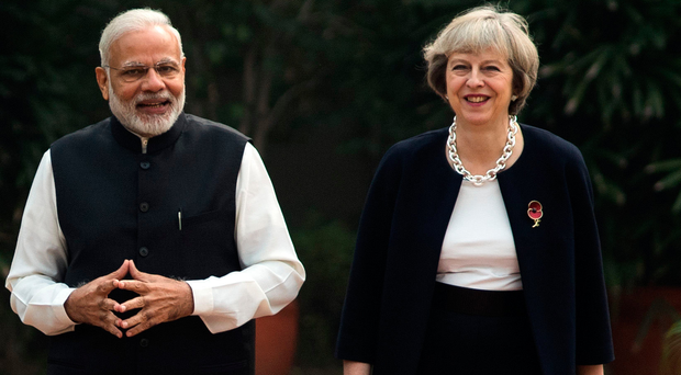 Prime Minister Theresa May with Indian Prime Minister Narendra Modi in New Delhi