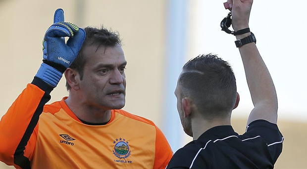 Seeing red: Roy Carroll was wrongly sent off