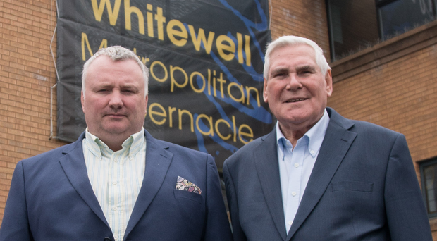 Two's company: Pastor McConnell with broadcaster Stephen Nolan during the making of his documentary