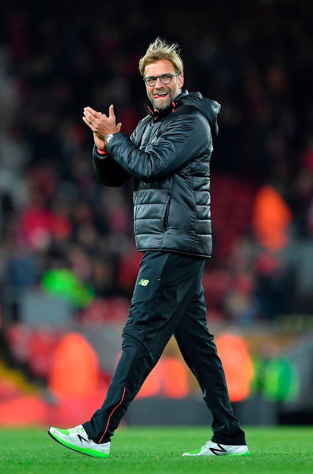 Looking up: Jurgen Klopp is excited by Liverpool's young talent