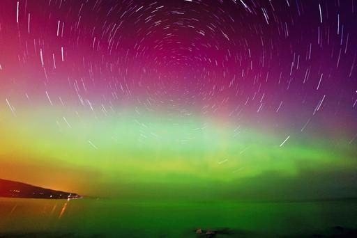 Aurora star trails taken from Ballygally near Larne. Picture by Paul Evans