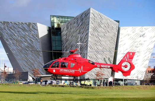 One of the two helicopters which will deliver Northern Ireland's first ever Helicopter Emergency Medical Service (HEMS) was in Northern Ireland for a three-day flying visit last year. Picture by Jonathan Porter/Press Eye