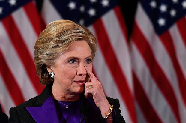 US Democratic presidential candidate Hillary Clinton pauses as she makes a concession speech after being defeated by Republican President-elect Donald Trump, in New York on November 9, 2016. / AFP PHOTO / JEWEL SAMADJEWEL SAMAD/AFP/Getty Images