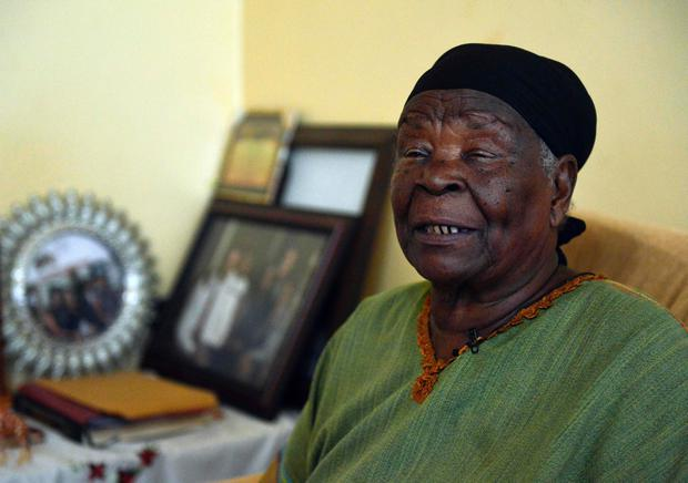 Mama Sarah Obama, 94, step-grandmother of outgoing US President Barack Obama, speaks during an interview at her home in the village of Nyang'oma in Kogelo, Siaya county, approximately 400 kilometres northwest of Kenyan capital Nairobi on November 9, 2016, where she welcomed US' Republican presidential candidate Donald Trump's victory in the presidential elections. AFP/Getty Images