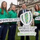 City slickers: Ireland coach Tom Tierney with players Clare McLaughlin, Niamh Briggs, Nora Stapleton and Alison Miller at City Hall for the pool draw for the 2017 Women's Rugby World Cup