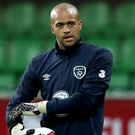 In hand: Darren Randolph is relieved to get some action for the Republic of Ireland after finding his playing time limited at West Ham