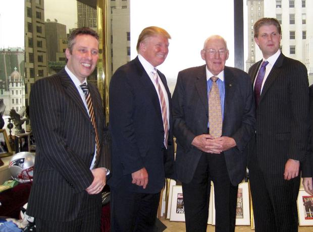 Ian Paisley with his late father Lord Bannside, Donald Trump and his son Eric Trump in New York