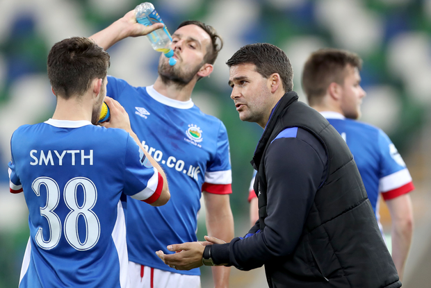 Listen up: David Healy has words of encouragement for his Linfield side